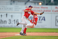 Auburn Doubledays infielder Cody Dent #2 can not come up with a throw as Justin Bohn #56 comes into second on a double steal during a game against the Batavia Muckdogs on July 3, 2013 at Dwyer Stadium in Batavia, New York.  Batavia defeated Auburn 12-2.  (Mike Janes/Four Seam Images)