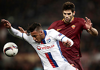 Football Soccer: Europa League Round of 16 second leg, Roma-Lyon, stadio Olimpico, Roma, Italy, March 16,  2017. <br /> Lyon's Corentin Tolisso (l) in action with Roma's Federico Fazio (r) during the Europe League football soccer match between Roma and Lyon at the Olympique stadium, March 16,  2017. <br /> Despite losing 2-1, Lyon reach the quarter finals for 5-4 aggregate win.<br /> UPDATE IMAGES PRESS/Isabella Bonotto