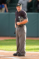 Home plate umpire Farris Pierson during the Pioneer League game between the Billings Mustangs and the Grand Junction Rockies at Suplizio Field on July 24, 2012 in Grand Junction, Colorado.  The Rockies defeated the Mustangs 4-3.  (Brian Westerholt/Four Seam Images)