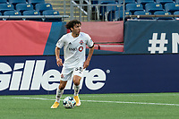 FOXBOROUGH, MA - JULY 9: Kobe Franklin #58 of Toronto FC II looks to pass during a game between Toronto FC II and New England Revolution II at Gillette Stadium on July 9, 2021 in Foxborough, Massachusetts.