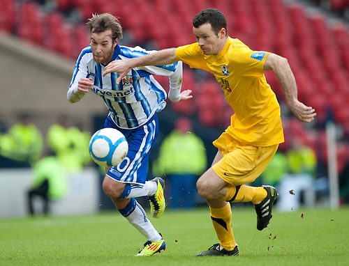 GLASGOW, SCOTLAND - JANUARY 28:  Killie's James Dayton and Ayr's Eddie Malone during the Scottish Communities Cup Semi Final match between Ayr United and Kilmarnock at Hampden Park on January 28, 2012 in Glasgow, United Kingdom. (Photo by Rob Casey/Getty Images).