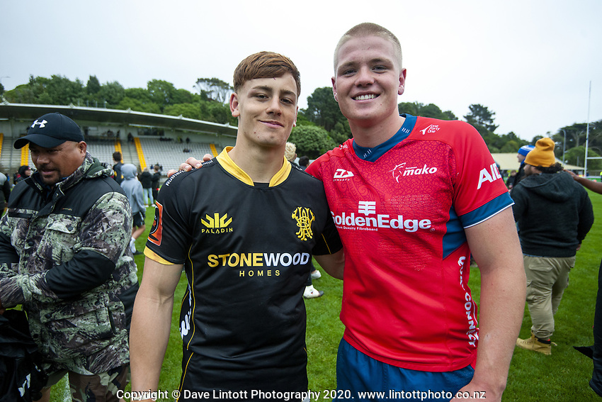 Ruben Love and Anton Segner after the Mitre 10 Cup rugby match between Wellington Lions and Tasman Makos at Jerry Collins Stadium in Wellington, New Zealand on Saturday, 31 October 2020. Photo: Dave Lintott / lintottphoto.co.nz