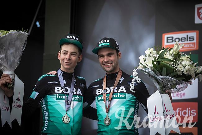 podium with teammates:<br /> <br /> 2nd place: Davide Formolo (ITA/Bora Hansgrohe)<br /> 3th place: Maximilian Schachmann (DEU/Bora Hansgrohe), <br /> <br /> <br /> 105TH Liège-Bastogne-Liège 2019 (1.UWT)<br /> 1 Day Race Liège-Liège (256km)<br /> <br /> ©kramon