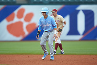 Brandon Riley (1) of the North Carolina Tar Heels takes his lead off of second base against the Boston College Eagles in Game Five of the 2017 ACC Baseball Championship at Louisville Slugger Field on May 25, 2017 in Louisville, Kentucky. The Tar Heels defeated the Eagles 10-0 in a game called after 7 innings by the Mercy Rule. (Brian Westerholt/Four Seam Images)
