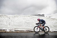 Maglia Rosa / Pink Jersey / GC Leader Egan Bernal (COL/Ineos Grenadiers) is teh first rider to cross this Giro's Cima Coppi coming over the Passo Giau<br /> <br /> due to the bad weather conditions the stage was shortened (on the raceday) to 153km and the Passo Giau became this years Cima Coppi (highest point of the Giro).<br /> <br /> 104th Giro d'Italia 2021 (2.UWT)<br /> Stage 16 from Sacile to Cortina d'Ampezzo (shortened from 212km to 153km)<br /> <br /> ©kramon