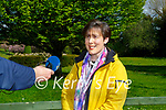 Minister Norma Foley speaking to the press at the Killarney fires press conference on Monday at the Killarney Park Hotel