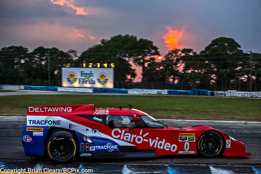 Sunset during practice, #0 DeltaWing,  Andrew Meyrick, Katherine Legge, Memo Rojas   12 Hours of Sebring, Sebring International Raceway, Sebring, FL, March 2015.  (Photo by Brian Cleary/ www.bcpix.com )