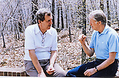 United States President Jimmy Carter meets with US Secretary of State-Designate Edmund Muskie during a working week-end on foreign policy at Camp David, the Presidential retreat near Thurmont, Maryland on Saturday, May 3, 1980.<br />