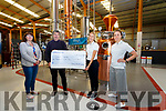 Skellig Six 18 Distillery in Cahersiveen presented a cheque for €1,000 to Cúnamh Iveragh on Wednesday, money raised from their #SkelligCoast2kms Campaign held during 'Lockdown', pictured here l-r; Evelyn Goggin, Brendan Murphy(Cúnamh Iveragh Secretary), Norma O'Shea(Visitor Experience Manager) & Aoife Breen(Brand Manager).  The Distillery is open for tours until the end of October.