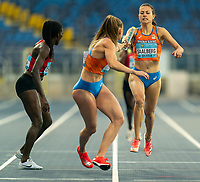 1st May 2021; Silesian Stadium, Chorzow, Poland; World Athletics Relays 2021. Day 1; Saalberg of the Netherlands hands the baton to Lisa De Witte