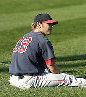 September 2, 2004:  Pitcher Ryan Larson of the Portland Sea Dogs, Double-A Eastern League affiliate of the Boston Red Sox, during a game at NYSEG Stadium in Binghamton, NY.  Photo by:  Mike Janes/Four Seam Images