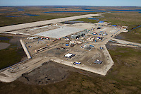 Bovanenkovo ,Yamal Peninsula, Russia, 10/07/2010..An aerial view of the new airport under construction on the Gazprom Yamal Bovanenkovo gasfield project.