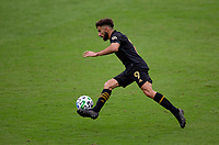 LOS ANGELES, CA - OCTOBER 25: Diego Rossi #9 of LAFC moves with the ball during a game between Los Angeles Galaxy and Los Angeles FC at Banc of California Stadium on October 25, 2020 in Los Angeles, California.