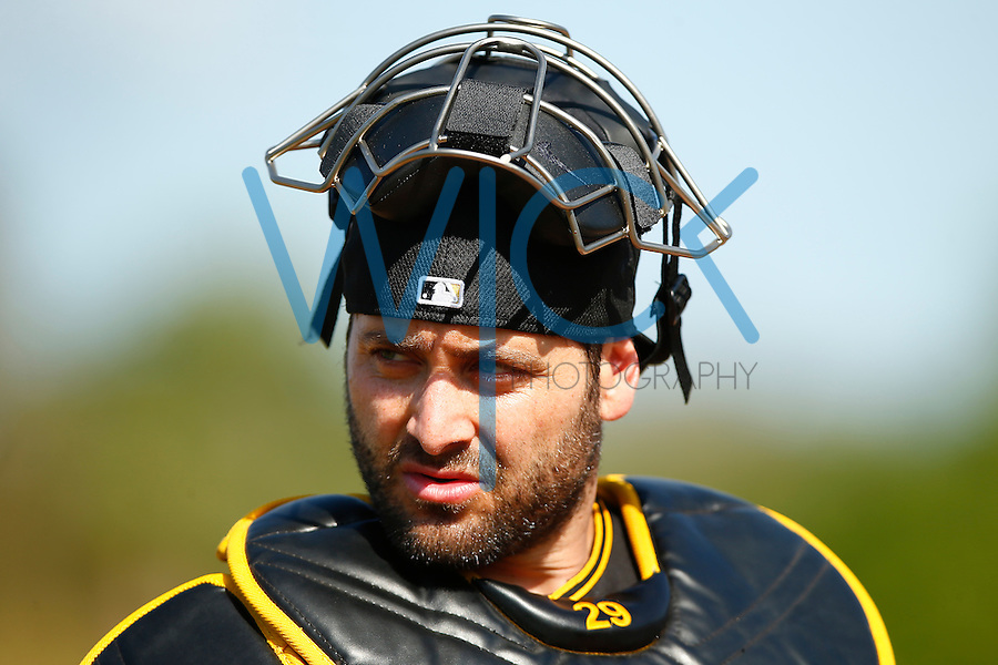 Francisco Cervelli #29 of the Pittsburgh Pirates works out during spring training at Pirate City in Bradenton, Florida on February 23, 2016. (Photo by Jared Wickerham / DKPS)