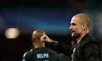 Football Soccer: UEFA Champions League Napoli vs Mabchester City San Paolo stadium Naples, Italy, November 1, 2017. <br /> Manchester City's coach Josep Guardiola celebrates after winning 4-2 the Uefa Champions League football soccer match between Napoli and Manchester City at San Paolo stadium, November 1, 2017.<br /> UPDATE IMAGES PRESS/Isabella Bonotto