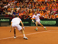 14-sept.-2013,Netherlands, Groningen,  Martini Plaza, Tennis, DavisCup Netherlands-Austria, Doubles,   Jean-Julien Rojer and Robin Haase(L) (NED)<br /> Photo: Henk Koster