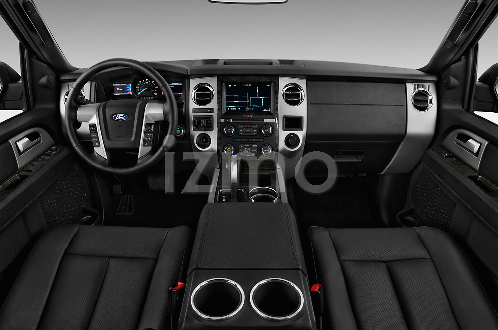 Stock photo of straight dashboard view of 2017 Ford Expedition Limited 5 Door SUV Dashboard