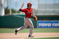 Boston Red Sox third baseman Triston Casas (19) throws during a Florida Instructional League game against the Baltimore Orioles on September 21, 2018 at JetBlue Park in Fort Myers, Florida.  (Mike Janes/Four Seam Images)