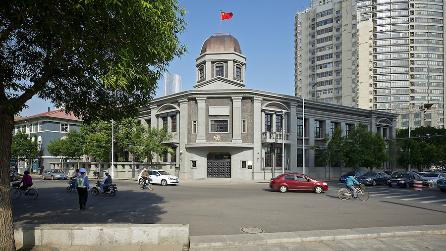 The Tianjin (Tientsin) Custom House As Photographed In May 2014.  (Note: This restoration, if that is what it is, came somewhat as a surprise as the previous look was very much in line with expectations and typical of the Art-Deco style.)