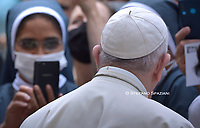 Pope Francis during of a weekly general audience  in the San Damaso's courtyard in Vatican, Wednesday.September 23, 2020<br /> (Photo by Stefano Spaziani)