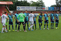 The players shake hands before the Friendly match between Aldershot Town and Wycombe Wanderers at the EBB Stadium, Aldershot, England on 26 July 2016. Photo by Alan  Stanford.