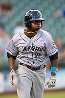 Omaha Storm Chasers outfielder Derrick Robinson #26 runs to first base during the Pacific Coast League baseball game against the Round Rock Express on July 22, 2012 at the Dell Diamond in Round Rock, Texas. The Express defeated the Chasers 8-7 in 11 innings. (Andrew Woolley/Four Seam Images).
