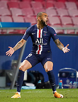 23rd August 2020, Estádio da Luz, Lison, Portugal; UEFA Champions League final, Paris St Germain versus Bayern Munich; Layvin Kurzawa (PSG) is amazed at the referees decision