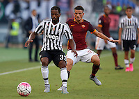 Calcio, Serie A: Roma vs Juventus. Roma, stadio Olimpico, 30 agosto 2015.<br /> Juventus' Patrice Evra, left, is challenged by Roma's Alessandro Florenzi during the Italian Serie A football match between Roma and Juventus at Rome's Olympic stadium, 30 August 2015.<br /> UPDATE IMAGES PRESS/Riccardo De Luca