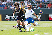 Boston Breakers Amy Peilbet sends the ball down field past LA Sol's Han Duan. The Boston Breakers and LA Sol played to a 0-0 draw at Home Depot Center stadium in Carson, California on Sunday May 10, 2009.   .