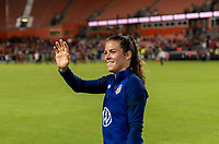HOUSTON, TX - JUNE 10: Kelley O'Hara #5 of the USWNT waves to the crowd after a game between Portugal and USWNT at BBVA Stadium on June 10, 2021 in Houston, Texas.
