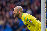 Darren Randolph of Middlesbrough organises a defensive wall during the Sky Bet Championship match between Cardiff City and Middlesbrough at the Cardiff City Stadium, Cardiff, Wales on 17 February 2018. Photo by Mark Hawkins / PRiME Media Images.