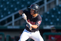 AZL Indians 1 center fielder Steven Kwan (7) shows bunt during an Arizona League playoff game against the AZL Rangers at Goodyear Ballpark on August 28, 2018 in Goodyear, Arizona. The AZL Rangers defeated the AZL Indians 1 7-4. (Zachary Lucy/Four Seam Images)