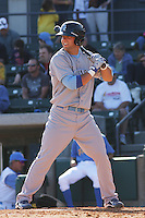 Alex Gordon #27 of the Wilmington Blue Rocks  hitting against the Myrtle Beach Pelicans on April 11, 2010  in Myrtle Beach, SC. Gordon was on a rehab assignment for the Kansas City Royals.
