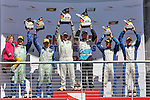 Marc Miller (5) and Stevan McAleer (5) celebrate after winning the Grand Am of the Americas, Continental Tire Challenge ST Class race at the Circuit of the Americas race track in Austin,Texas...