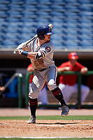Fort Myers Miracle center fielder Jimmy Kerrigan (8) at bat during a game against the Clearwater Threshers on April 25, 2018 at Spectrum Field in Clearwater, Florida.  Clearwater defeated Fort Myers 9-5.  (Mike Janes/Four Seam Images)