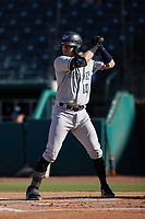 Austin Wells (10) of the Hudson Valley Renegades at bat against the Greensboro Grasshoppers at First National Bank Field on September 2, 2021 in Greensboro, North Carolina. (Brian Westerholt/Four Seam Images)