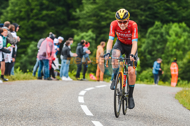 Fred Wright (GBR) Bahrain Victorious in the breakaway during Stage 16 of the 2021 Tour de France, running 169km from Pas de la Case to Saint-Gaudens, France. 13th July 2021.  <br /> Picture: A.S.O./Charly Lopez | Cyclefile<br /> <br /> All photos usage must carry mandatory copyright credit (© Cyclefile | A.S.O./Charly Lopez)