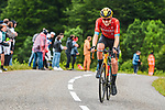 Fred Wright (GBR) Bahrain Victorious in the breakaway during Stage 16 of the 2021 Tour de France, running 169km from Pas de la Case to Saint-Gaudens, France. 13th July 2021.  <br /> Picture: A.S.O./Charly Lopez   Cyclefile<br /> <br /> All photos usage must carry mandatory copyright credit (© Cyclefile   A.S.O./Charly Lopez)
