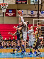 24 November 2015: Yeshiva University Maccabee Forward Gavriela Colton, a Junior from Teaneck NJ, reaches for a rebound during game action against the College of Mount Saint Vincent Dolphins at the Baruch College ARC Arena Gymnasium, in New York, NY. The Dolphins defeated the Maccabees 67-30 in the NCAA Division III Women's Basketball Skyline matchup. Mandatory Credit: Ed Wolfstein Photo *** RAW (NEF) Image File Available ***