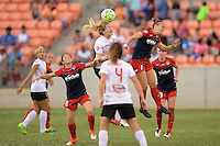 Houston, TX - Sunday Oct. 09, 2016: Samantha Mewis, Christine Nairn during the National Women's Soccer League (NWSL) Championship match between the Washington Spirit and the Western New York Flash at BBVA Compass Stadium.