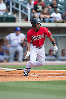 Marcus Lemon (2) of the Birmingham Barons starts down the first base line against the Tennessee Smokies at Regions Field on May 4, 2015 in Birmingham, Alabama.  The Barons defeated the Smokies 4-3 in 13 innings. (Brian Westerholt/Four Seam Images)