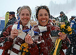 lauren woolstencroft and karolina wisniewska celebrate their bronze and silver medals in Giant Slalom Thursday at Snowbasin
