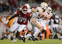Arkansas tight end Blake Kern (87) puts pressure on Tennessee quarterback Brian Maurer (18), Saturday, November 7, 2020 during the fourth quarter of a football game at Donald W. Reynolds Razorback Stadium in Fayetteville. Check out nwaonline.com/201108Daily/ for today's photo gallery. <br /> (NWA Democrat-Gazette/Charlie Kaijo)