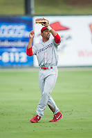 Lakewood BlueClaws left fielder Samuel Hiciano (23) catches a fly ball during the game against the Kannapolis Intimidators at CMC-NorthEast Stadium on July 20, 2014 in Kannapolis, North Carolina.  The Intimidators defeated the BlueClaws 7-6. (Brian Westerholt/Four Seam Images)