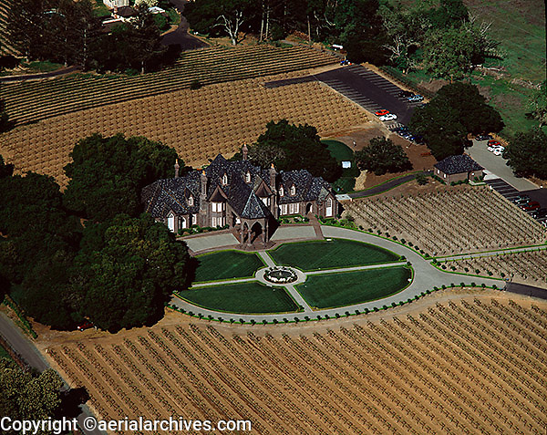 aerial photograph of the Ledson winery and vineyards, Kenwood, Sonoma county, California