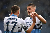 Ciro Immobile of Lazio celebrates with Sergej Milinkovic-Savic of Lazio after scoring goal of 2-1  during the Serie A 2018/2019 football match between SS Lazio and Spal at stadio Olimpico, Roma, November 04, 2018 <br />  Foto Andrea Staccioli / Insidefoto