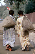 In Egypt, children are employed to collect apples, and then carry the loads into town to sell. - Child labor as seen around the world between 1979 and 1980 - Photographer Jean Pierre Laffont, touched by the suffering of child workers, chronicled their plight in 12 countries over the course of one year.  Laffont was awarded The World Press Award and Madeline Ross Award among many others for his work.