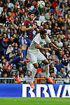 Real Madrid´s Raphael Varane and Eibar´s Raul Rodriguez Navas during 2014-15 La Liga match between Real Madrid and Eibar at Santiago Bernabeu stadium in Madrid, Spain. April 11, 2015. (ALTERPHOTOS/Luis Fernandez)