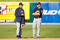 Jackson Generals manager Jim Pankovits #20 works with second baseman Nick Franklin #3 during fielding practice prior to the game against the Tennessee Smokies at Smokies Park on April 12, 2012 in Kodak, Tennessee.  The Generals defeated the Smokies 4-1.  (Brian Westerholt/Four Seam Images)