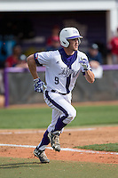 Jordan Sergent (9) of the High Point Panthers hustles down the first base line against the NJIT Highlanders during game one of a double-header at Williard Stadium on February 18, 2017 in High Point, North Carolina.  The Panthers defeated the Highlanders 11-0.  (Brian Westerholt/Four Seam Images)